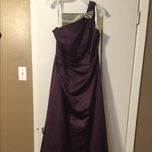 Dresses & Skirts - One shoulder purple satin ball gown.